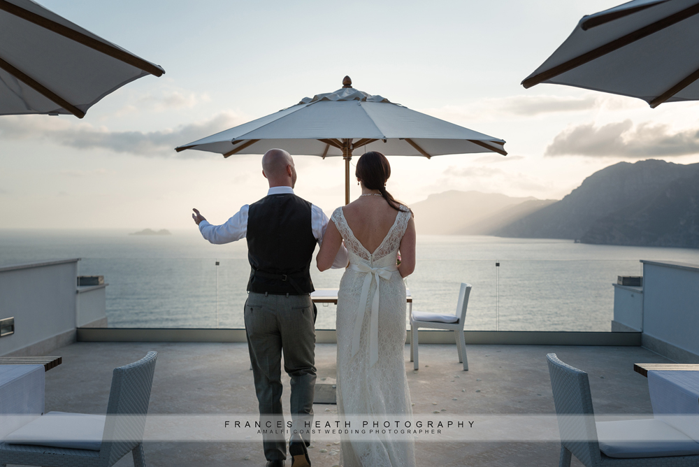 Bride and groom at Casa Angeliana in Praiano