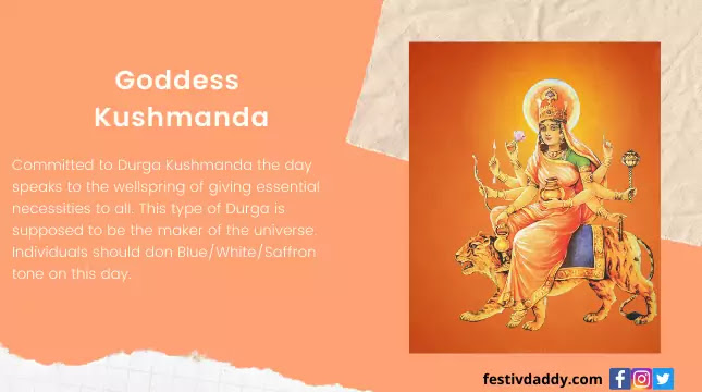 Goddess Kushmanda Navratri Fourth Day of Colors