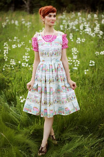 Michael Miller Paris Ville Bernie Dexter Style Handmade Dress with Shein Pink Gingham Crop Top