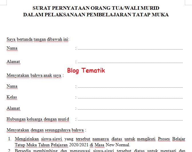 Contoh Surat Pernyataan Orang Tua Wali Murid Dalam Pelaksanaan Pembelajaran Tatap Muka Di Masa Covid 19 Blog Tematik