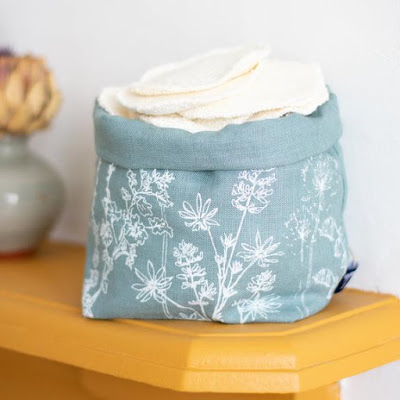 fabric storage bin; duck egg blue with white flowers