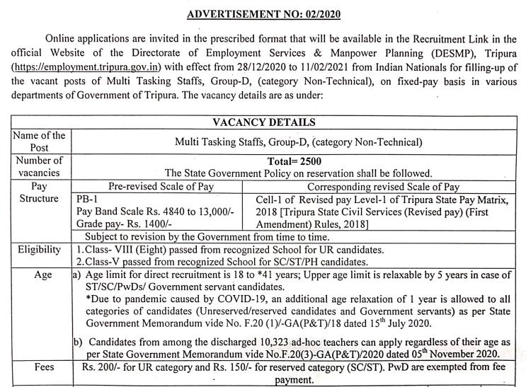 Tripura MTS Advt 2020