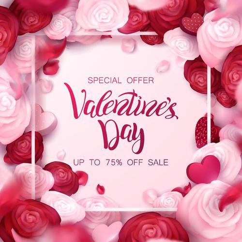 Happy Valentine day sale design with flower frame free vector