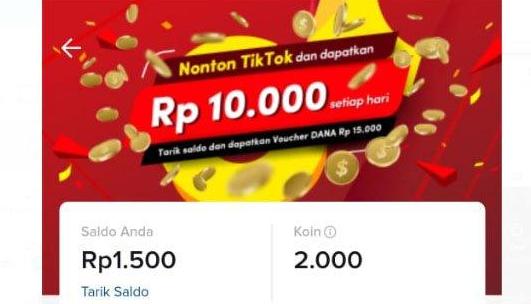 Cara Mendapatkan Uang Rp10.000 Setiap Hari dari Aplikasi TikTok
