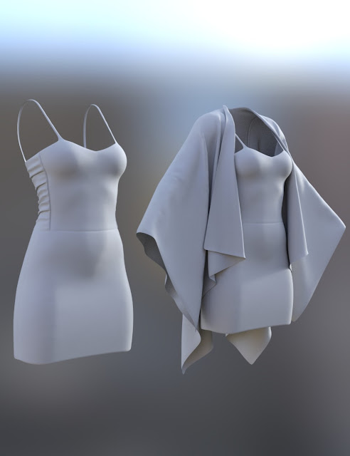 dForce Shirred Dress Outfit for Genesis 8 Female