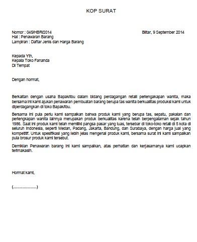 Contoh Surat Penawaran Brainly (via: brainly.co.id)