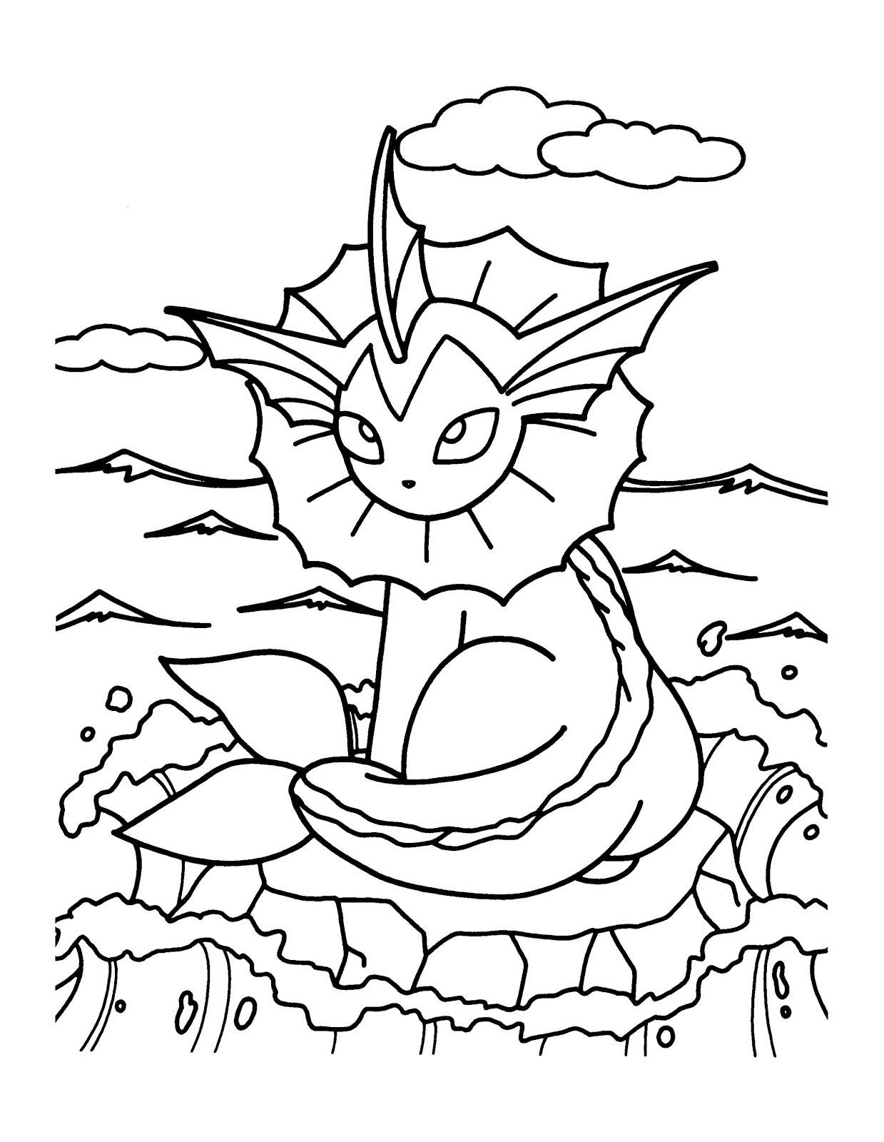 Pokemon Vaporeon Coloring Pages - Free Pokemon Coloring Pages