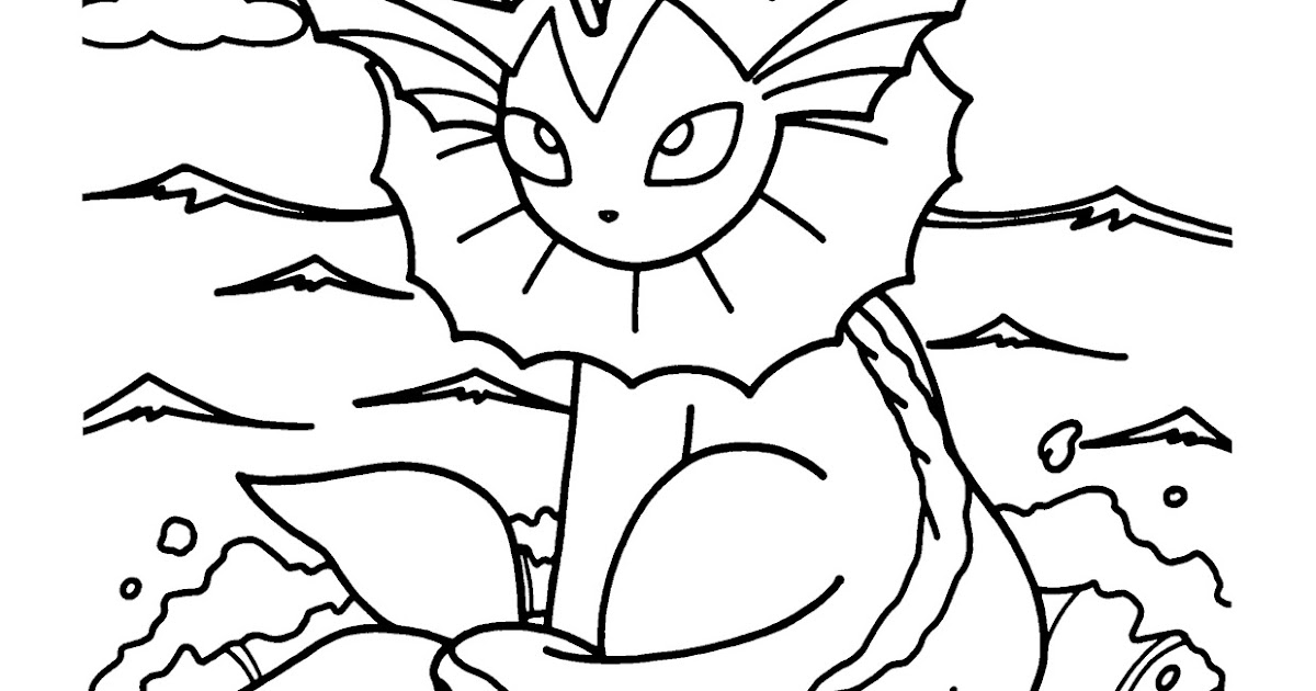 Pokemon Vaporeon Coloring Pages Free Pokemon Coloring Pages