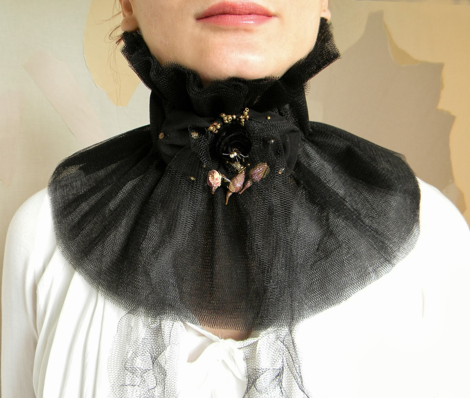 Edwardian Victorian Ruffled Jabot Choker High Black Neck Corset Tulle Layeres
