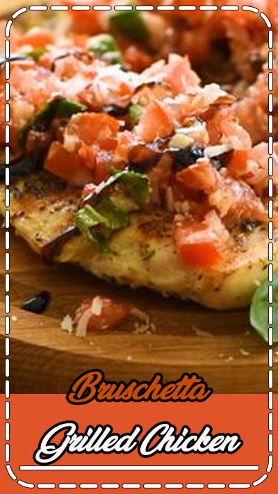 Tender, juicy grilled chicken topped with Bruschetta is the perfect healthy and quick dinner recipe! This Bruschetta Chicken recipe can be made outdoors on your grill or on your stovetop using a grill pan! #bruschetta #recipe