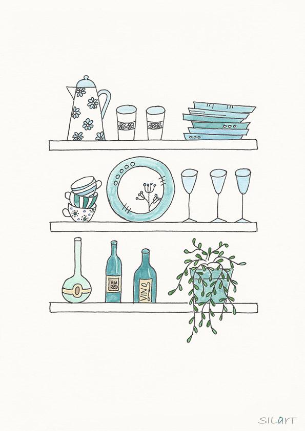 Gezeichnetes Küchenboard mit Geschirr