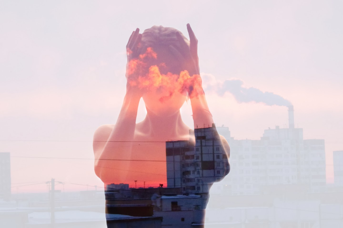 Double and multiple exposure in photography, industrialized body, polluted soul, double exposure girl, Insideout project, Nina Sinitskaya
