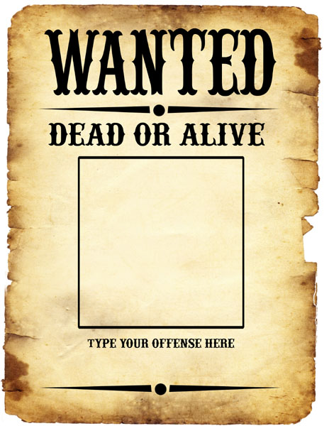Free Most Wanted Poster Template – Wanted Poster Letters