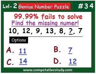 Number Puzzle: Find the missing number: 10, 12, 9, 13, 8, ? , 7