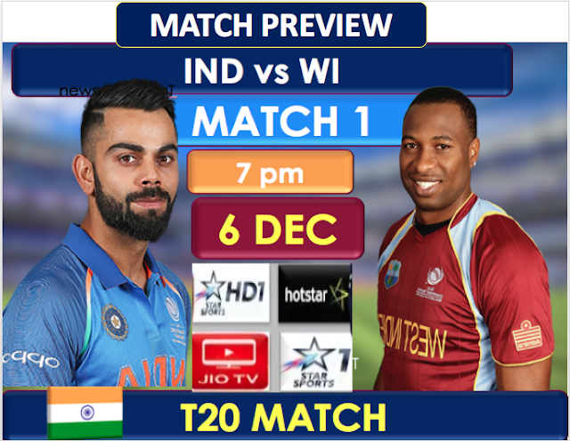 India vs West Indies, 1st T20I, MATCH PREVIEW, head to head Record.