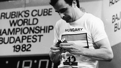 Zoltán Lábas of Hundary at 1982 Rubik's Cube Worlds