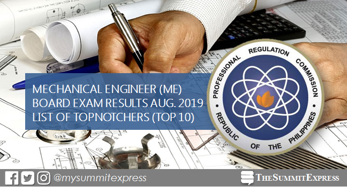TOP 10 PASSERS: August 2019 Mechanical Engineer ME, CPM board exam result