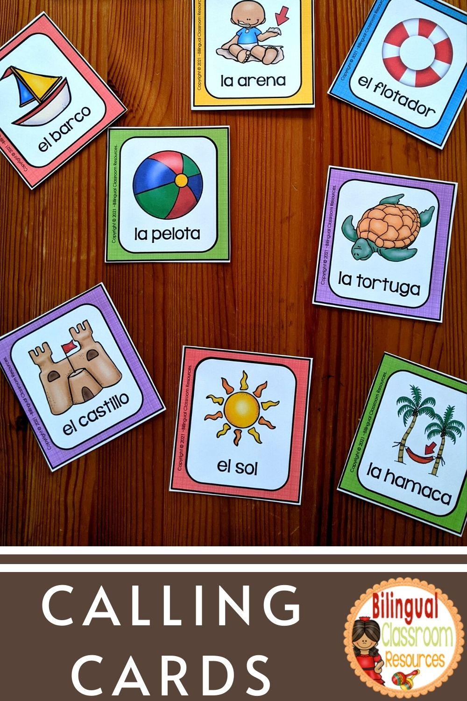 uego de bingo bilingue | Practicar vocabulario de verano