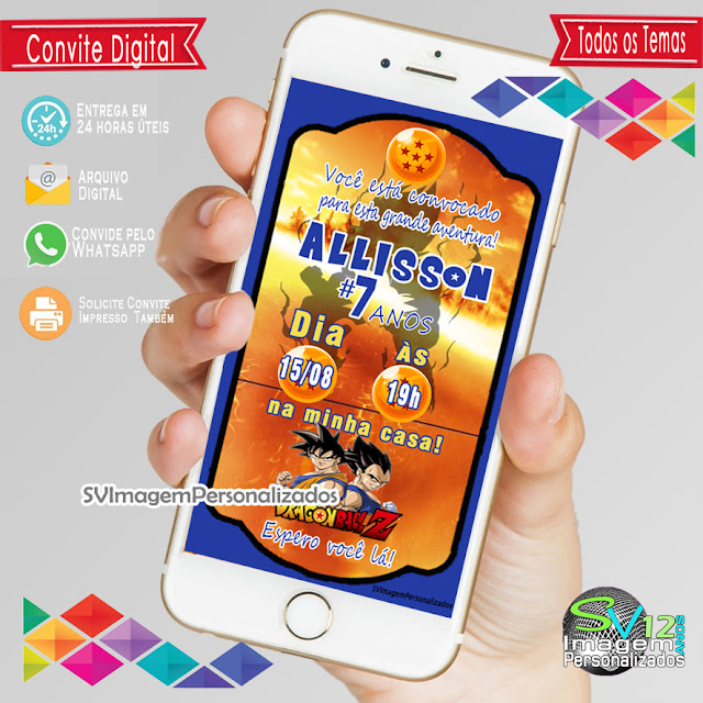 Dragon Ball Z dicas e ideias para decoração de festa personalizados convite digital