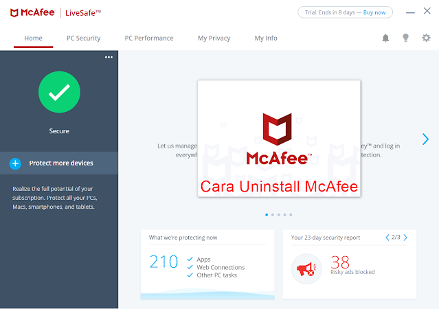 cara uninstall mcafee di windows 10