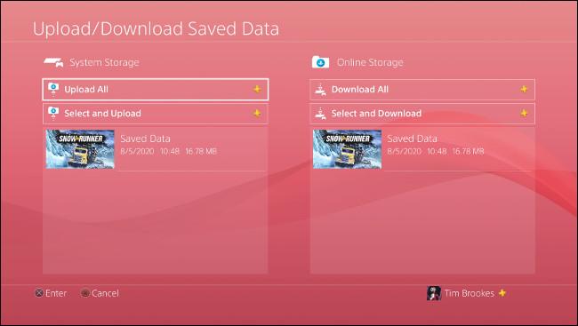 """قائمة """"تحميل / تنزيل البيانات المحفوظة"""" على PS4."""