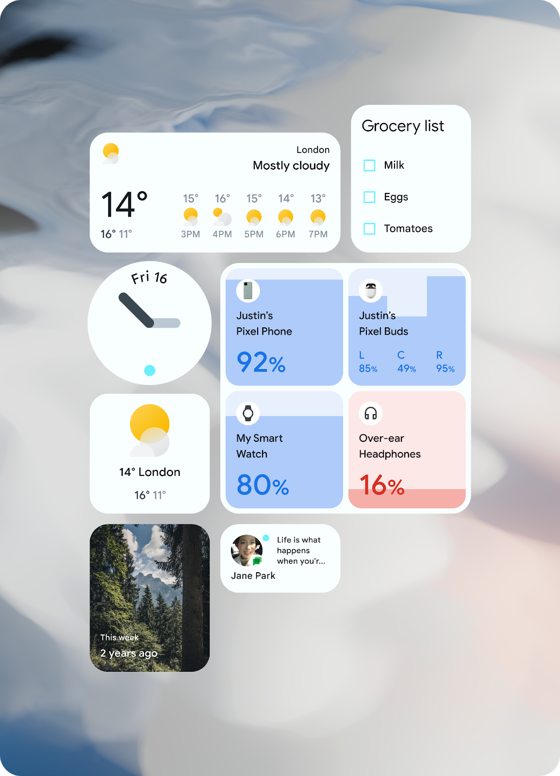 widgets in Android 12