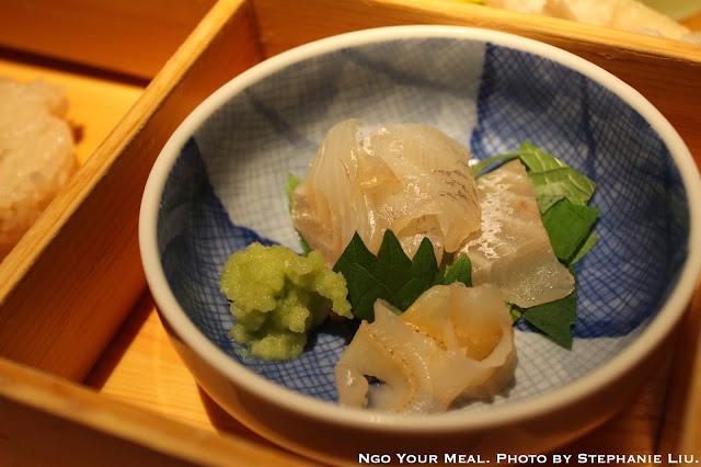 Bento Box: Cured Yokowa (Baby Tuna), Scallop Mantle, Shiso Leaves, and Fresh Wasabi from Shizuoka, Japan at NAOE