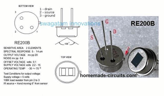 Passive Infrared Sensor Device RE200B pinout diagram