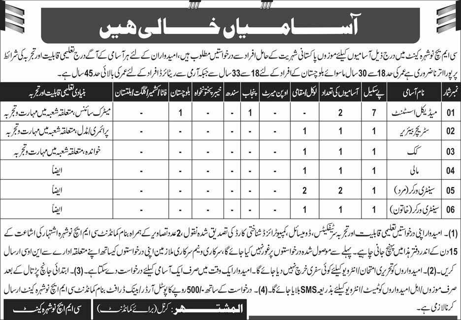 CMH Nowshera Cantt Today Jobs 14 July 2019