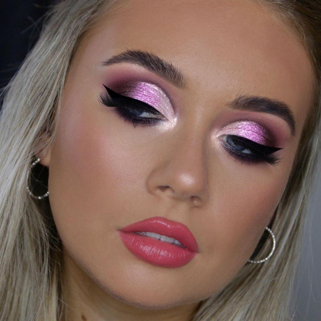 Maquiagem sombra lilás glitter