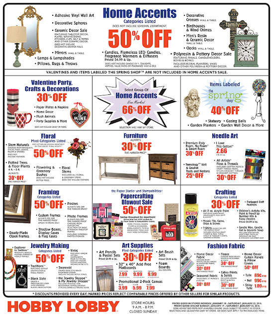 Hobby Lobby Coupon January 2016