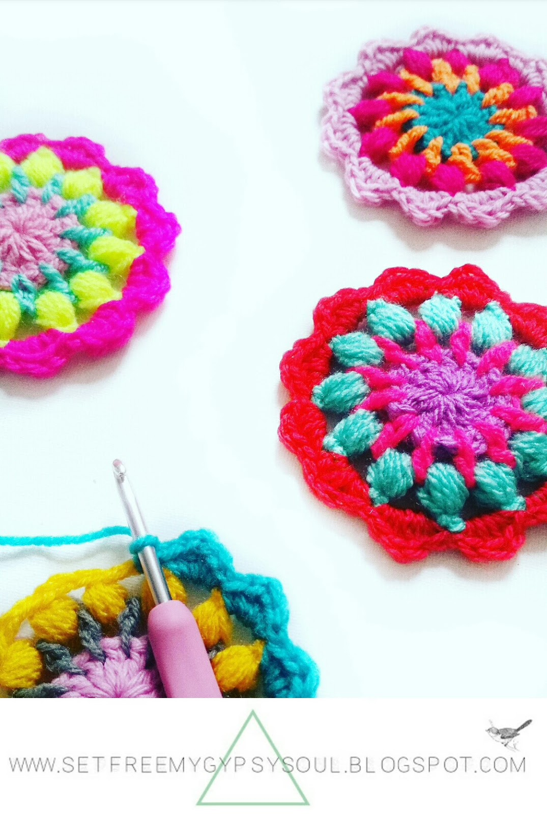 easy fast free crochet pattern mandala beginner bright boho floral