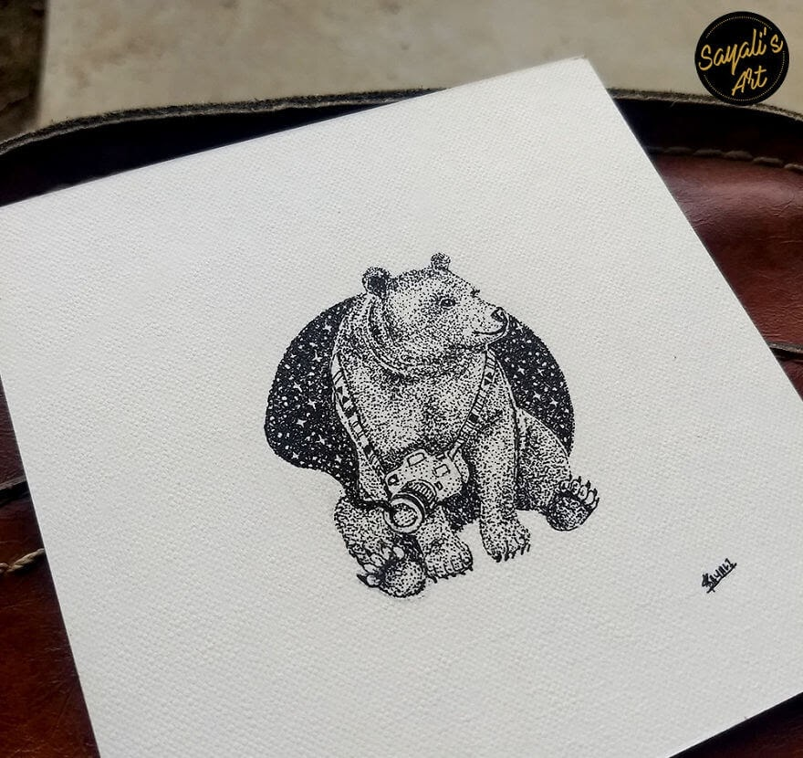 01-Bear-Photographer-Sayali-Horambe-Stippling-Dots-and-Creating-Drawings-www-designstack-co
