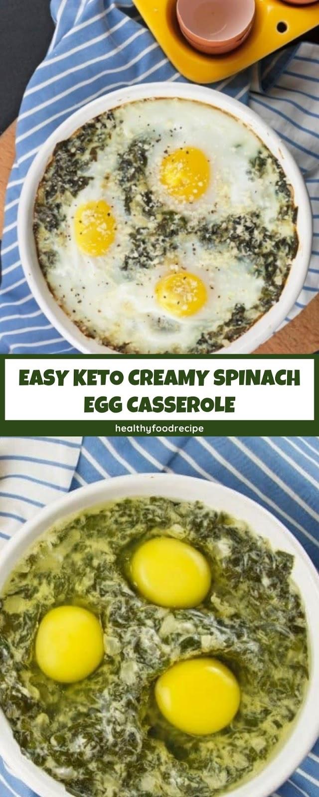 EASY KETO CREAMY SPINACH EGG CASSEROLE