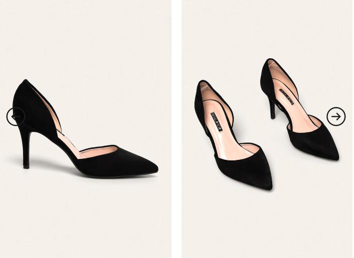 Pantofi cu toc decupati pe lateral negri din piele intoarsa frumosi