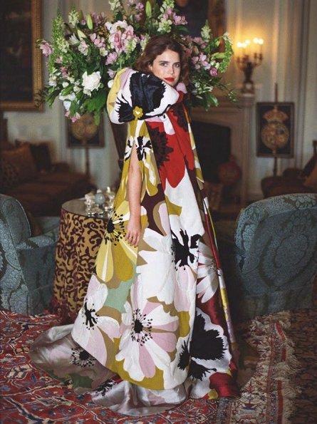 Princess Eugenie wore ERDEM Brocade dress. Princes Beatrice and Princes Eugenie gave an interview for September 2018 edition of British Vogue
