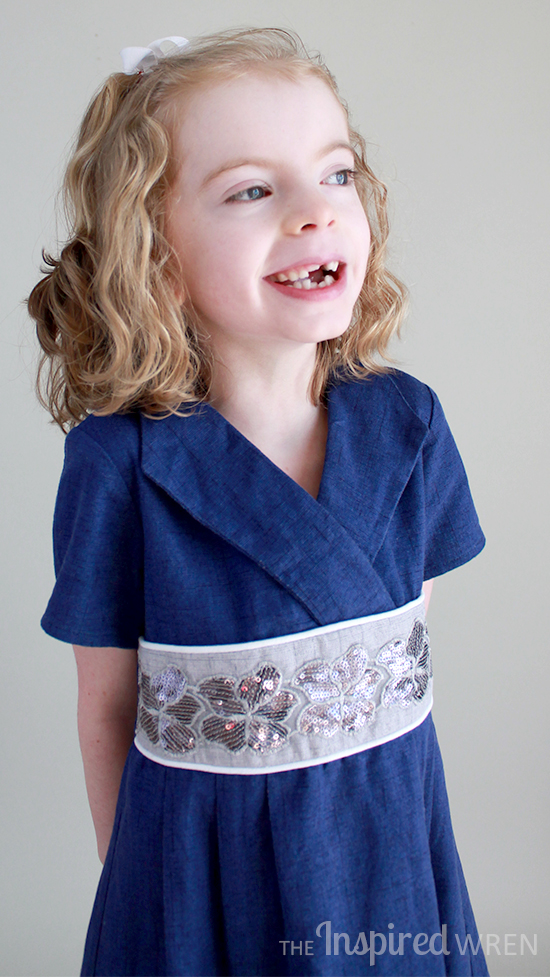 Darling. Oliver + S Library Dress in textured blue cotton | The Inspired Wren