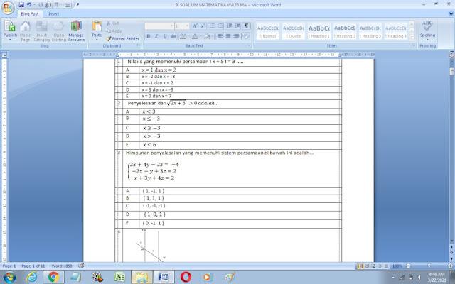 Contoh Soal Ujian Madrasah (UM) Matematika Wajib MA