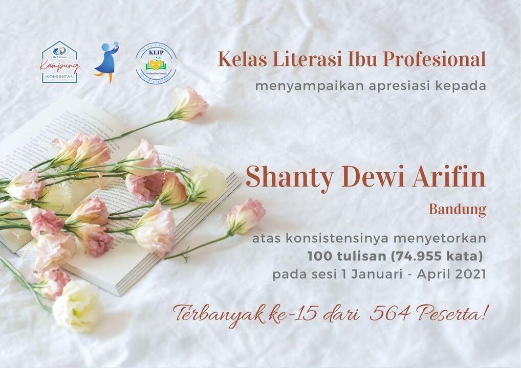 Sertifikat KLIP Sesi 1 2021 Shanty