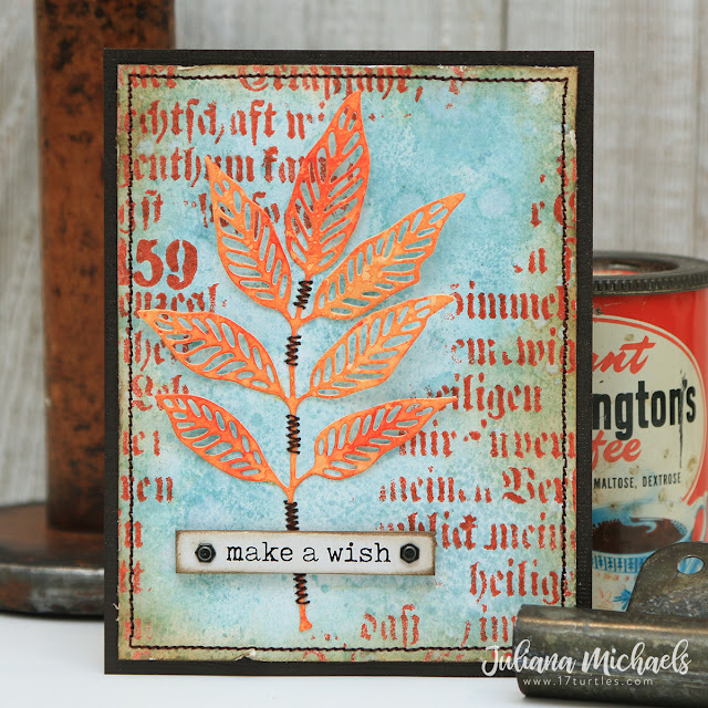 Make A Wish Birthday Card by Juliana Michaels featuring Tim Holtz Crackling Campfire and Speckled Egg Distress