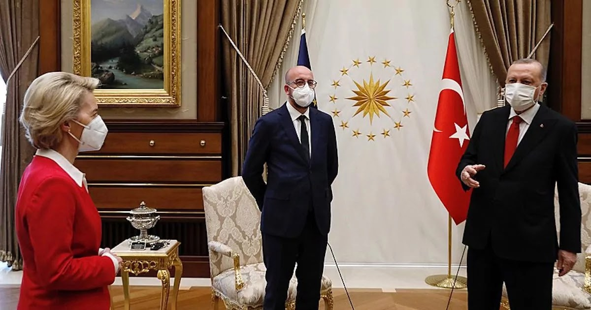 Gaffe As EU's Ursula Von Der Leyen Is Left Without A Chair At Meeting With Erdogan