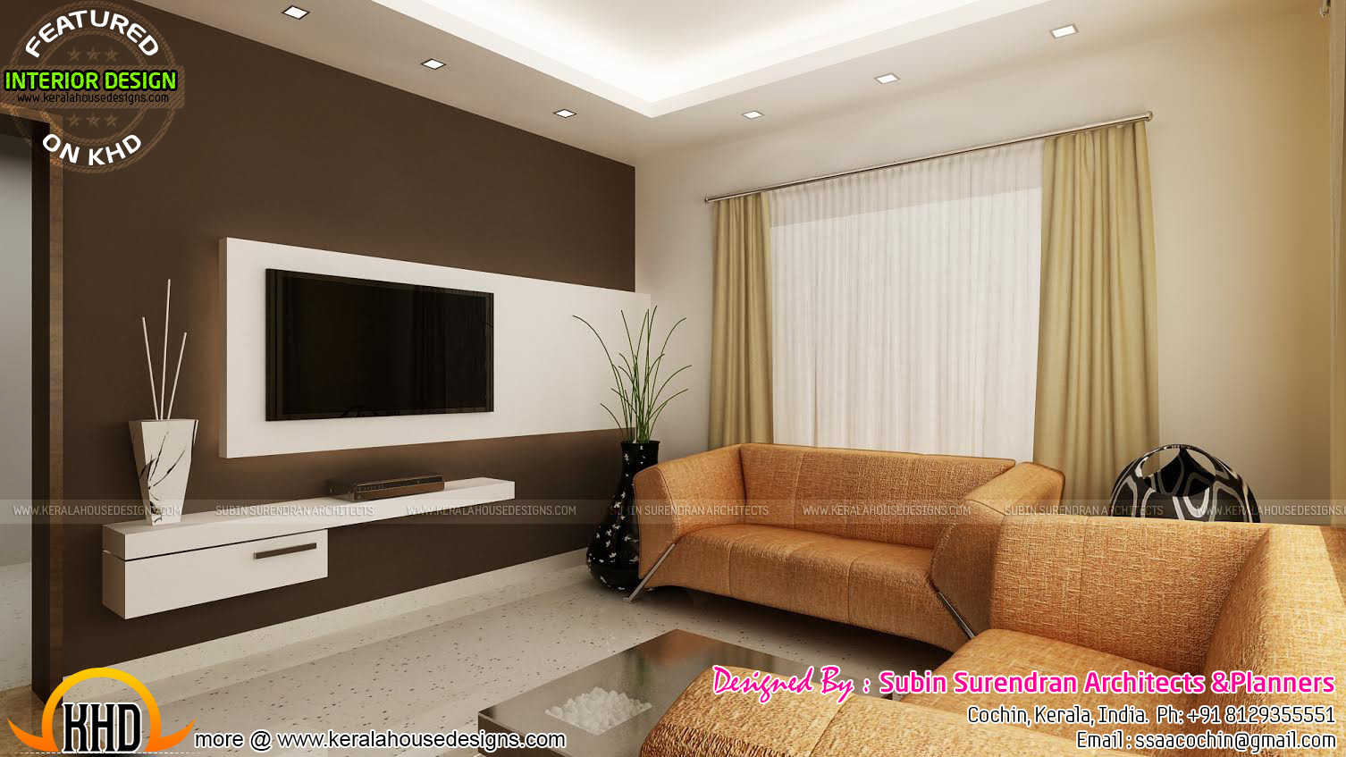 Living rooms modern kitchen interiors in kerala kerala for Drawing room bed design