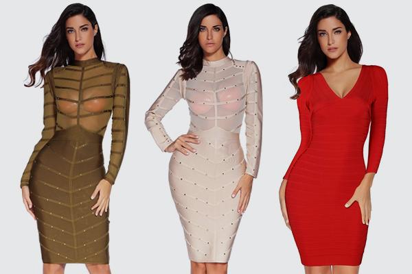 Women's Rivets Long Sleeve Bandage Bodycon Party Dress