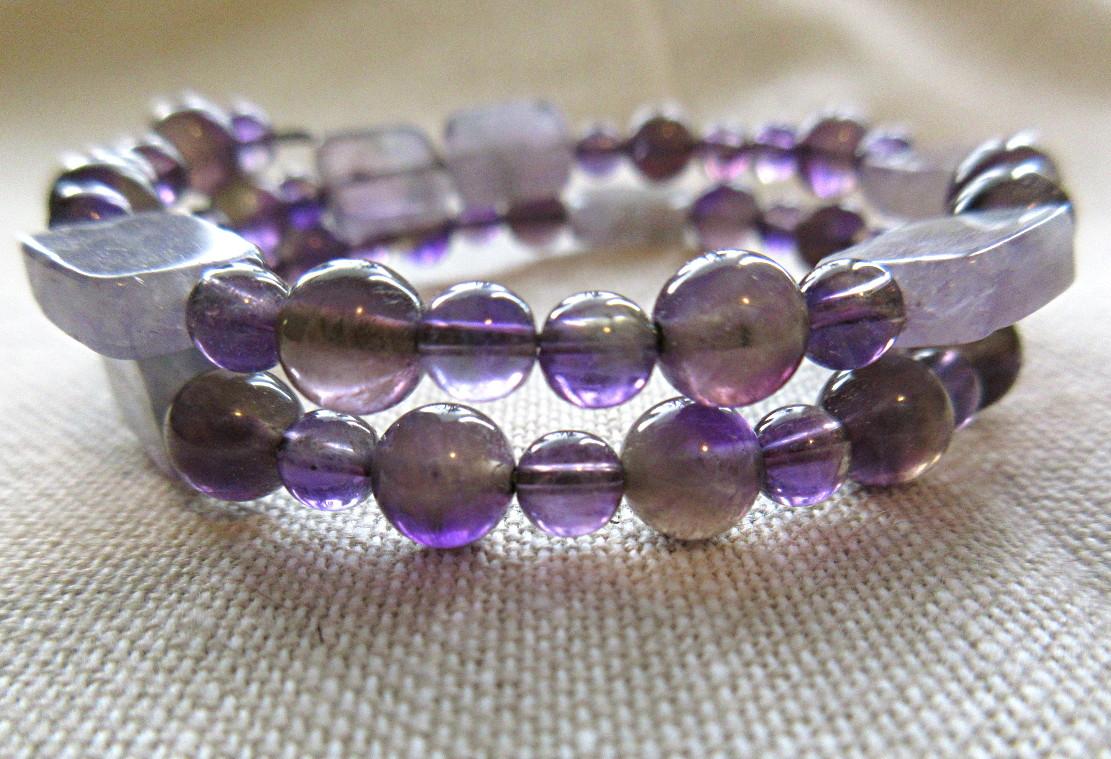 SciArt STEM science physics jewelry planck constant amethyst fluorite bracelet