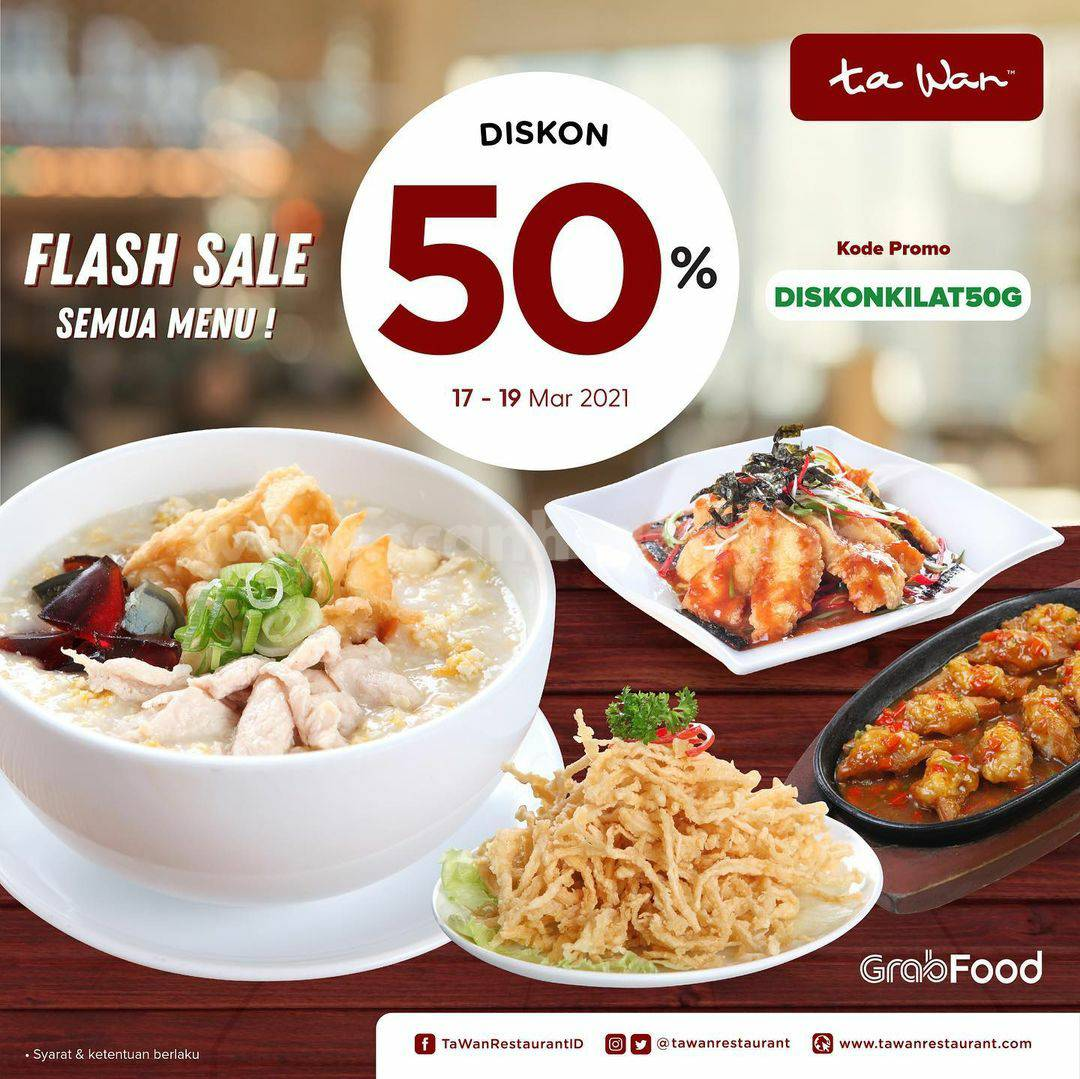 TA WAN RESTAURANT Promo Flash Sale DISKON 50% Via GRABFOOD