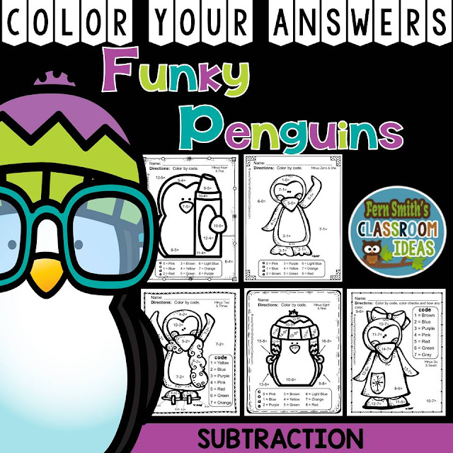 Winter Math: Winter Fun! Funky Penguins Subtraction Facts - Color Your Answers Printables
