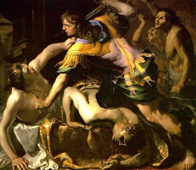 εικ. Ο Ορέστης σκοτώνει τον Αίγισθο   και την Κλυταιμνήστρα, Bernardino Μέι, 1654.