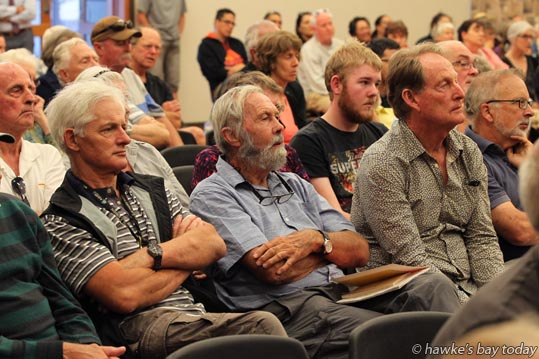 Part of the audience - Hawke's Bay Regional Councillors Cr Rick Barker, Cr Peter Beaven, Cr Rex Graham and Cr Tom Belford hosted a public meeting about the Ruataniwha Dam, RWSS, at Karamu High School, Hastings. photograph