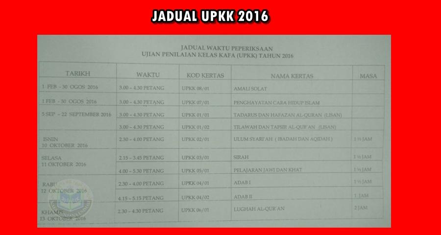 JADUAL UPKK 2016