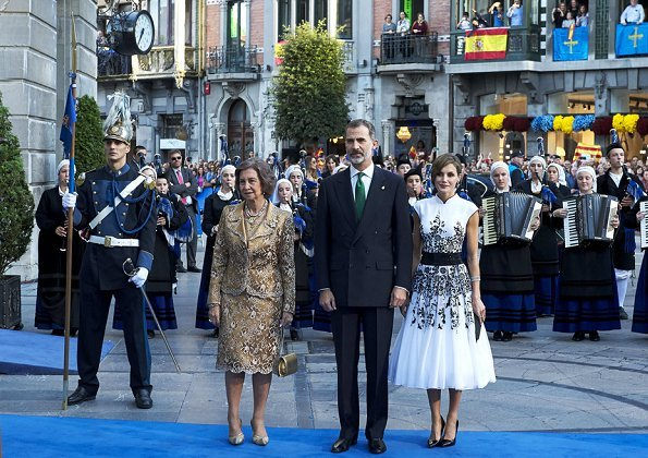 King Felipe VI and Queen Sofia. Queen Letizia wore Felipe Varela Floral-Embroidered dress, Magrit Pumps